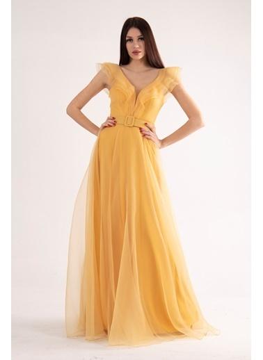Belamore  Sarı Volanlı Abiye & Mezuniyet Elbisesi 1301601.11 Sarı